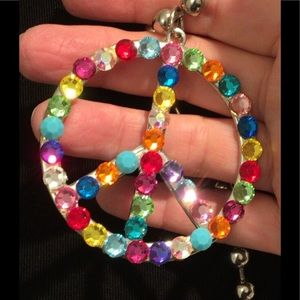 Jewelry - Retro Rhinestone Peace Sign Pendant on Chain